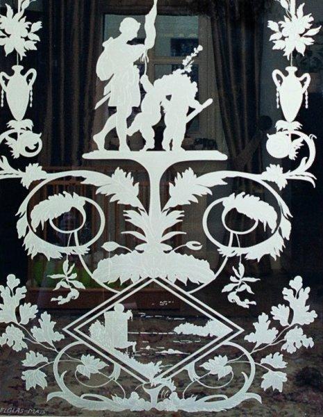 binnendeur met glas louis seize edelglas