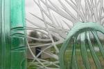 detail gezandstraald glas in kleur met cactus afbeelding