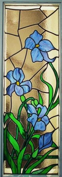 glas in lood met irissen