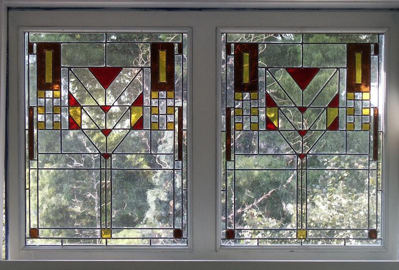 glas-in-lood raam naar architect Frank Loyd Wright