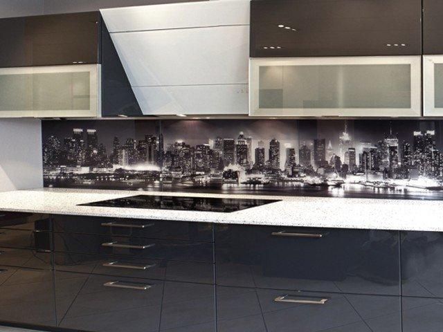 Glazen achterwand keuken edelglas: glazen achterwand op maat