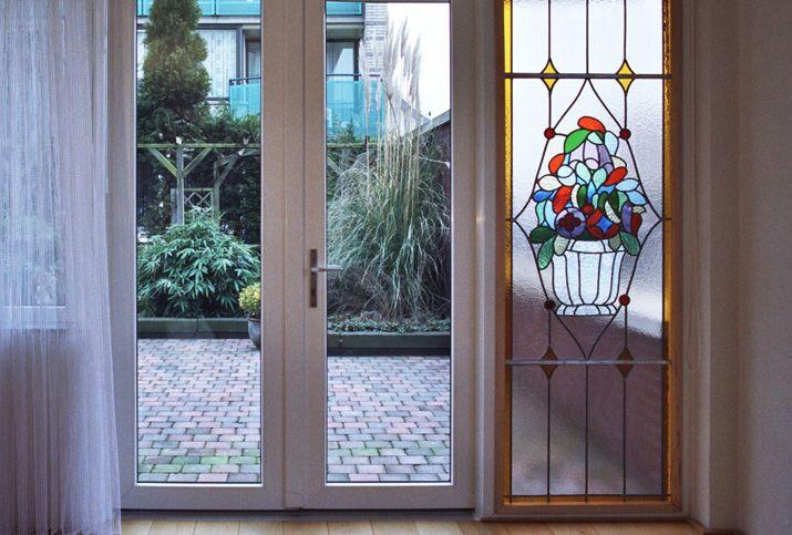 Glas in lood anti-inkijk bloemen glas in lood