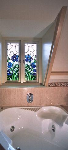 anti inkijk glas in lood badkamer