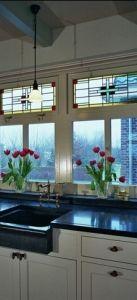 glas in lood ramen boerdrij keuken