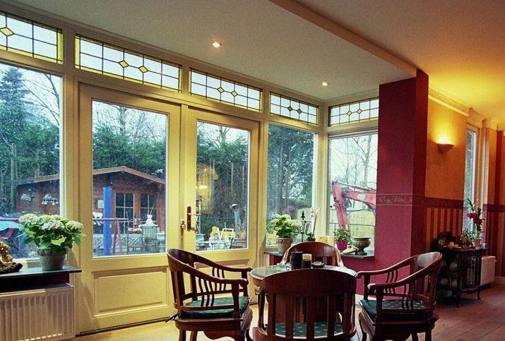 Glas in lood bovenlichten huis