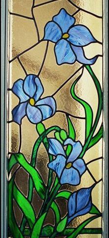 glas in lood bloemen irissen edelglas