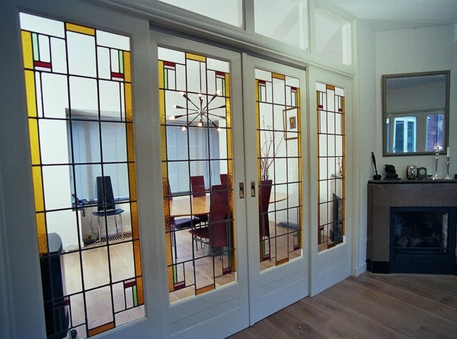 glas in lood deuren woonkamer