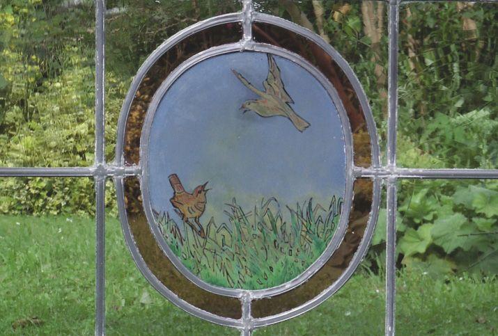glas in lood raam vogeltjes gebrandschilderd