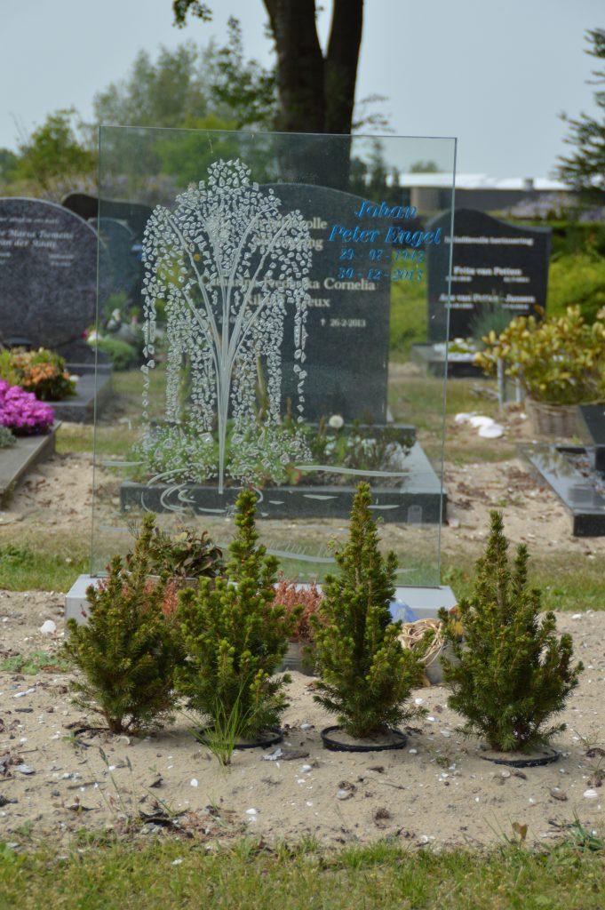 gedenkmonument van glas fontein edelglas