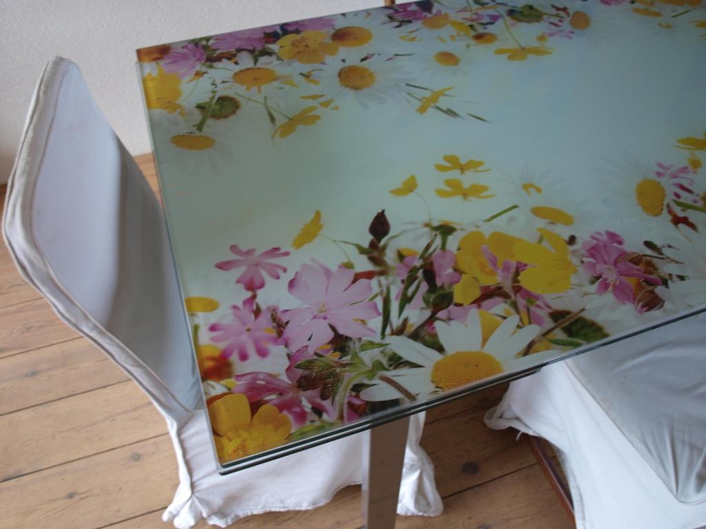 edelglas glazen tafelblad met bloemen