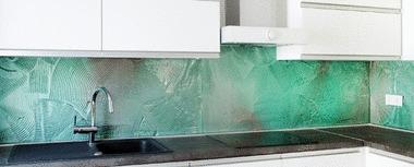 Glazen achterwand glas met print
